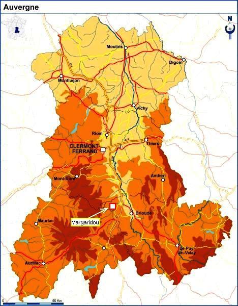 Sur la carte de l'Auvergne, Margaridou est un lieu privilégié pour rayonner au milieu des volcans