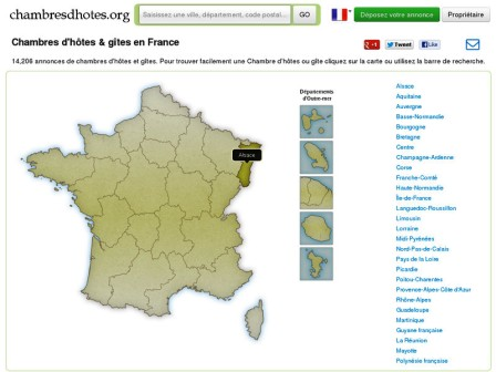 Chambres d'hôtes et gîtes en France